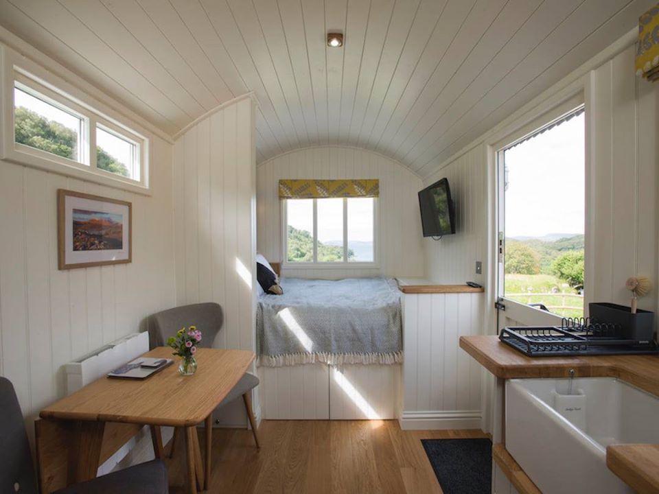 West Coast Hideaways Shepherds Hut Glamping Bed
