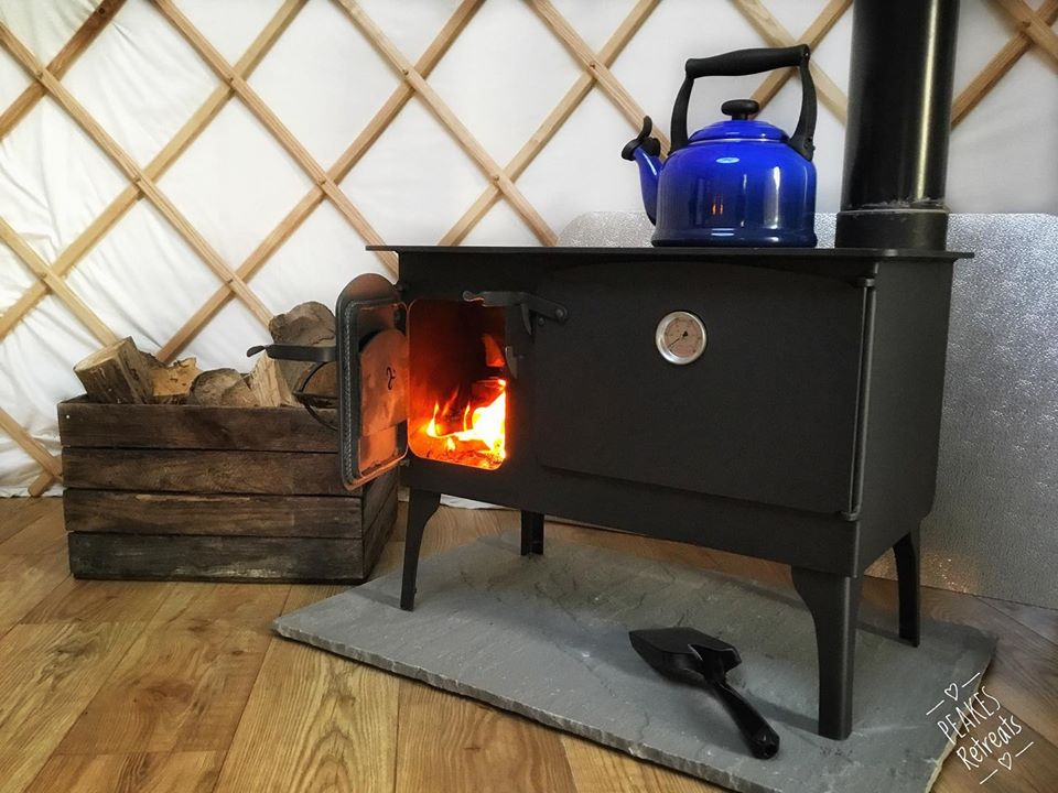 Peake's Retreat Yurts - log burner and kettle