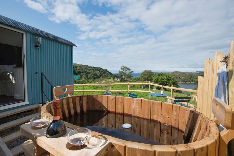 West Coast Hideaways Shepherds Hut Glamping hot Tub and View