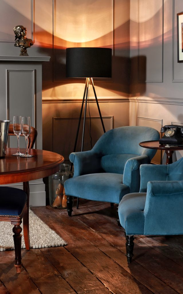 Fair Oak Farm Blue Velvet Armchair