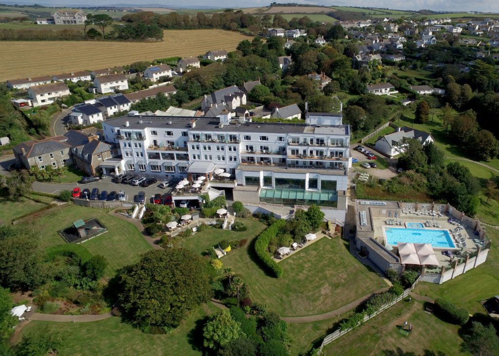 Thurlestone Hotel, Devon, hotel from above