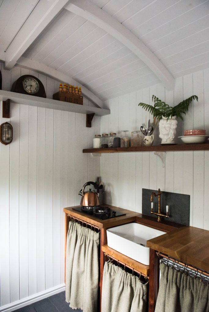 The Hide Shepherds Hut in Cuckfield, Sussex - kitchenette