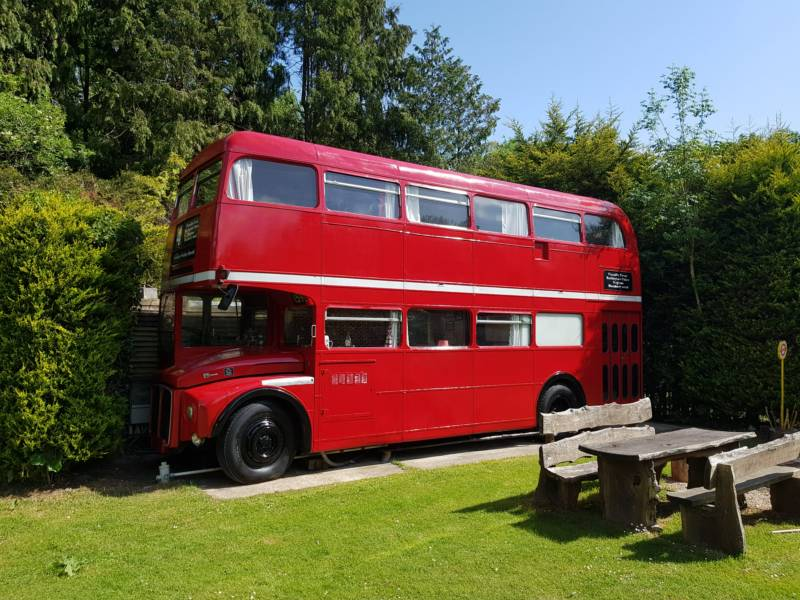 Blackberry Wood Glamping UK, double decker bus