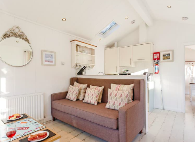 Larkstone elegance beach hut for hire north devon inside