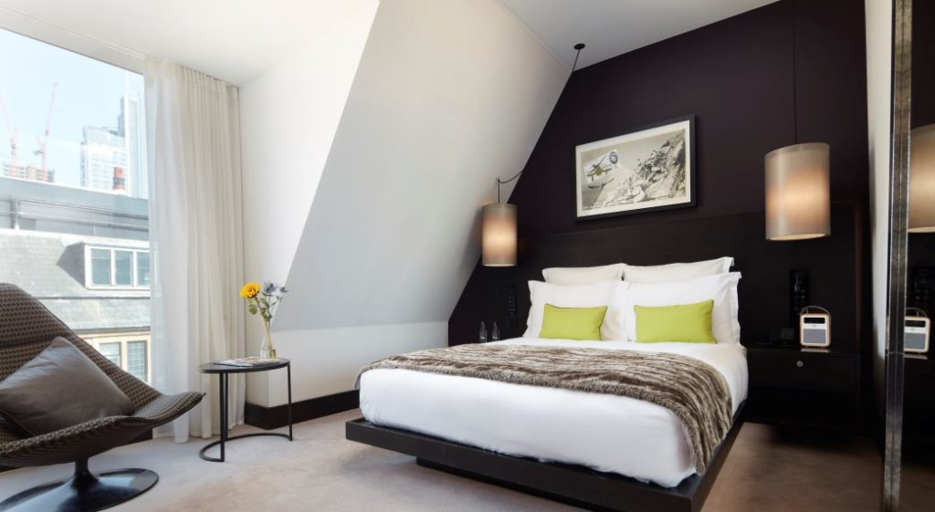 south place hotel london bedroom