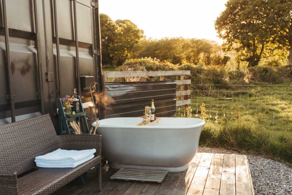 Trelan Farm Glamping Wales, Outdoor Tub