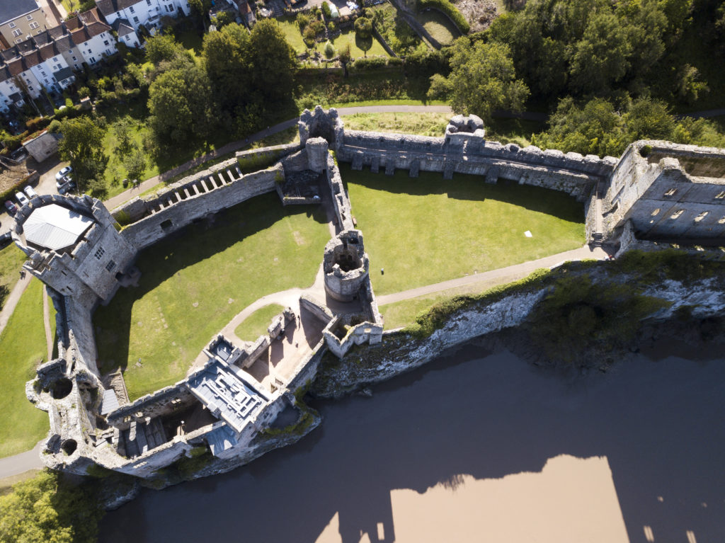 Chepstow castle from the air