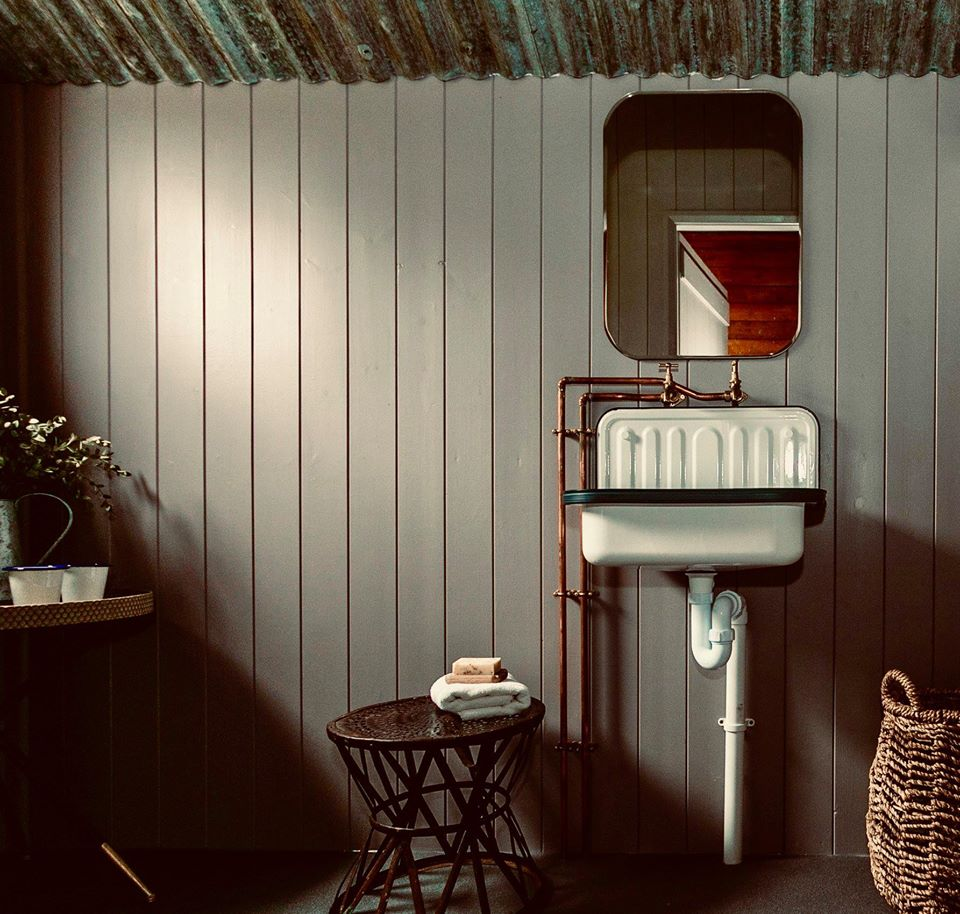 Exe Valley Glamping, Devon, bathroom