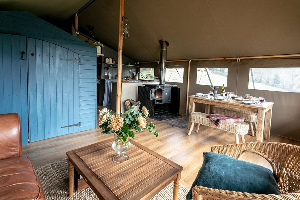Exe Valley Glamping, Devon, sun inside tent