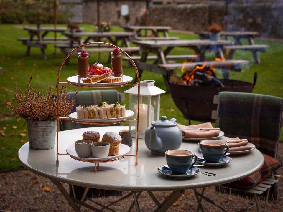 Lord Crewe Arms in Northumberland - afternoon tea outside