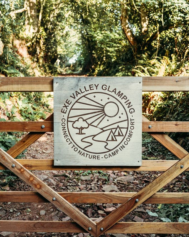 Exe Valley Glamping, Devon, gate to site