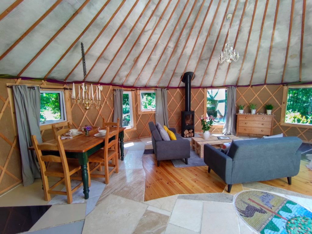 The Roundhouse HandCrafted Glamping Yurt in Somerset - inside view