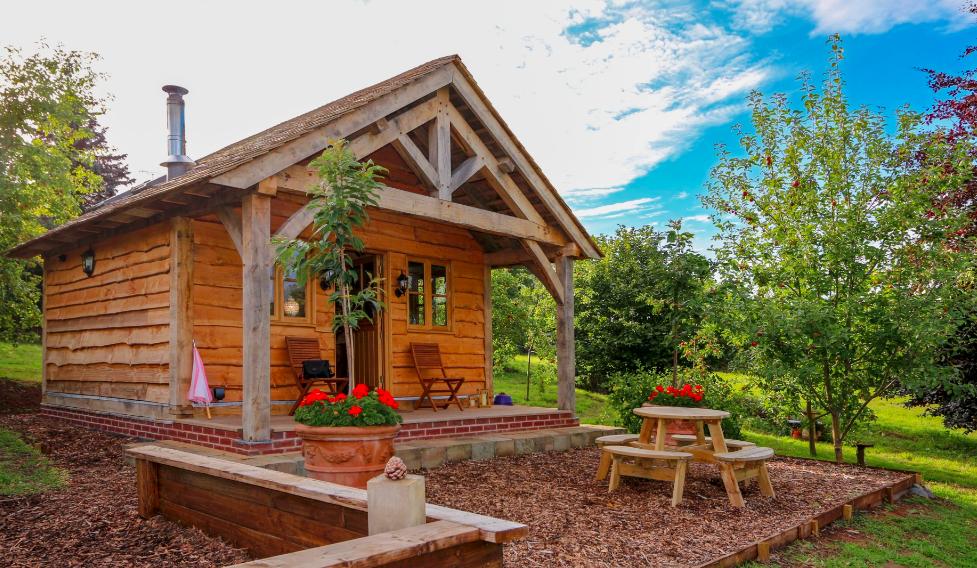 Copperbeech Bowtop Log Cabin and Gypsy Caravan, outside cabin