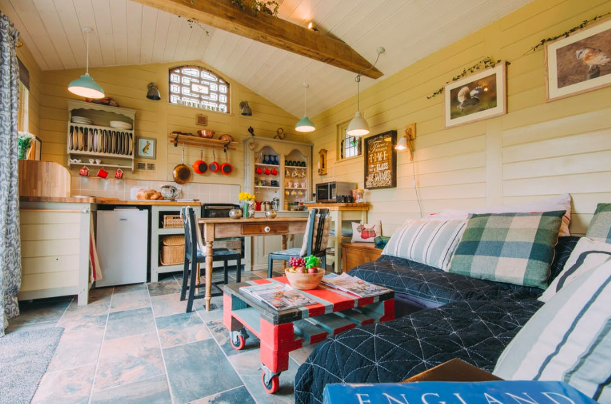 The Challoners Cabins in Sussex - kitchen and lounge