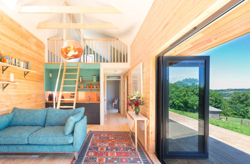 The Nap cabin in Exmoor Devon, lounge and mezzanine