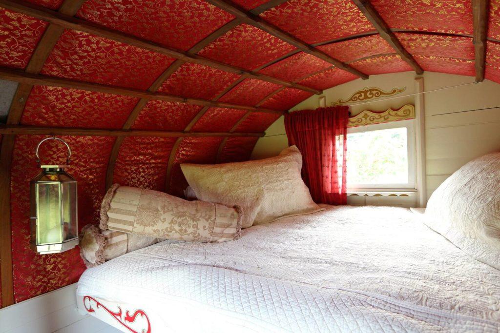 Copperbeech Bowtop Log Cabin and Gypsy Caravan, inside gypsy van