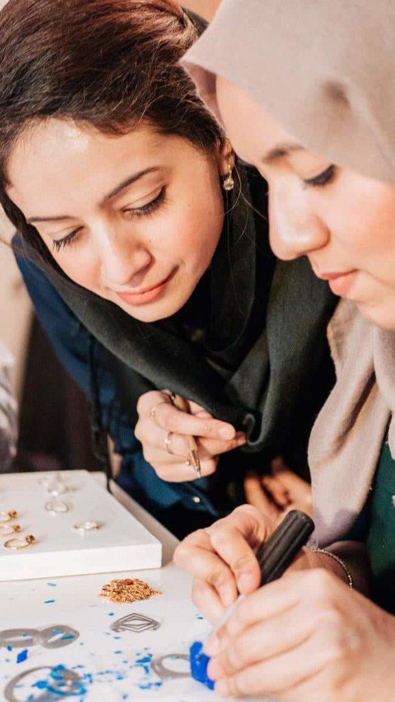 sofi and amia jewellery workshop - teaching