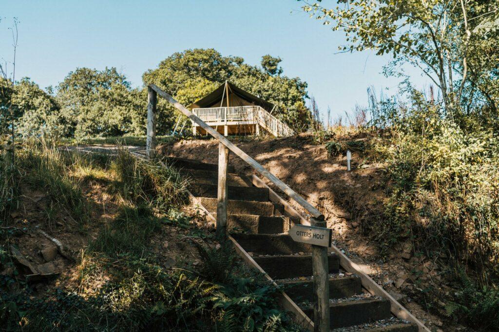 exe valley safari tent devon - steps to tent
