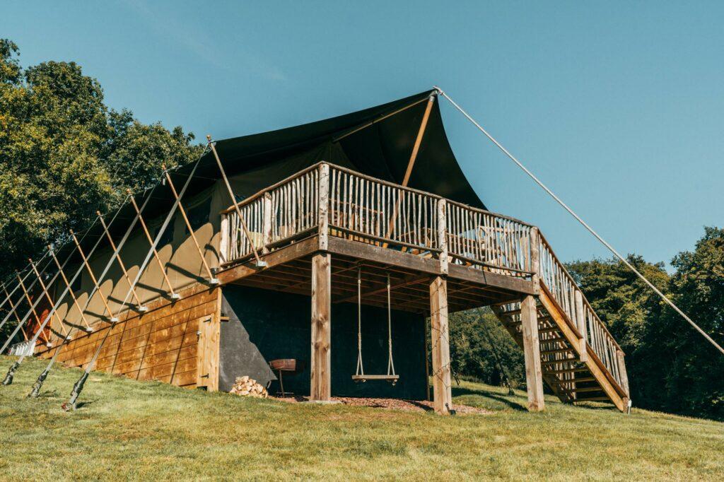 exe valley safari tent devon - outside view