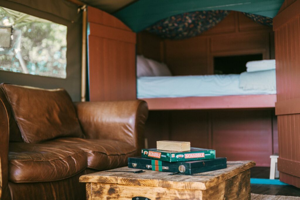 exe valley safari tent devon - cabin bed and games