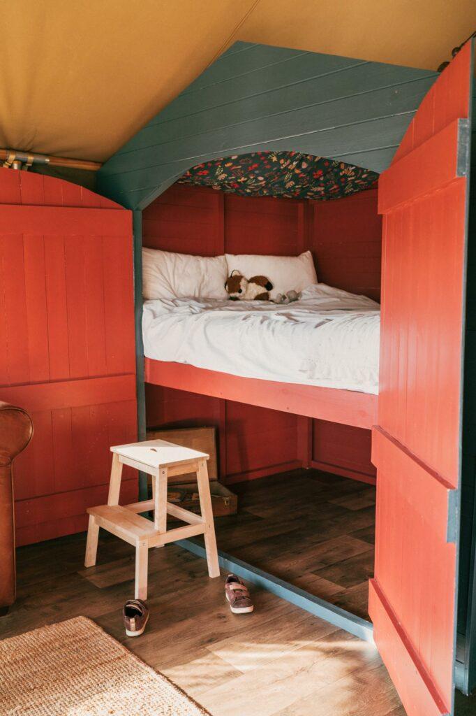 exe valley safari tent devon - cabin bed