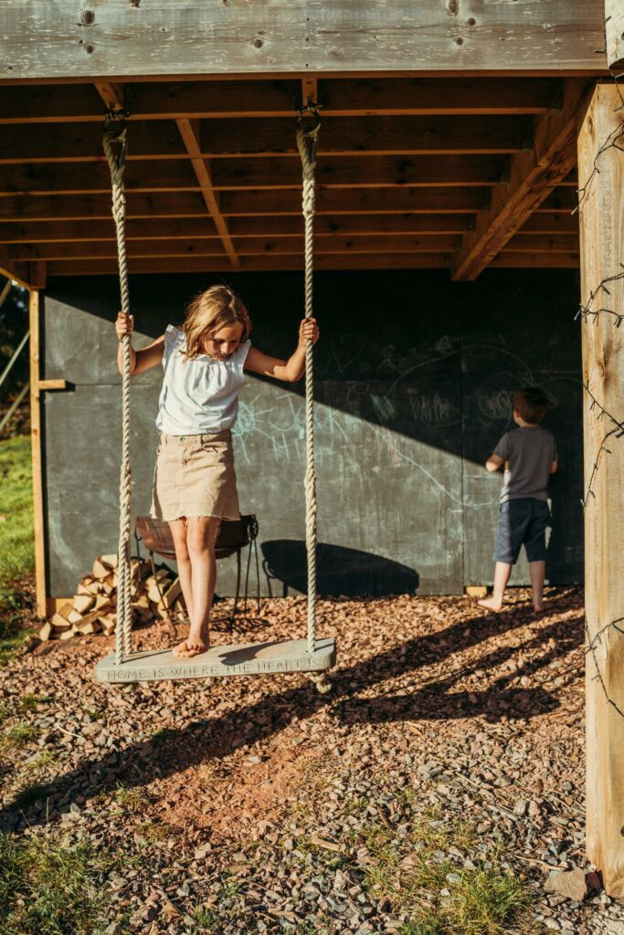 exe valley safari tent devon - swing underneath