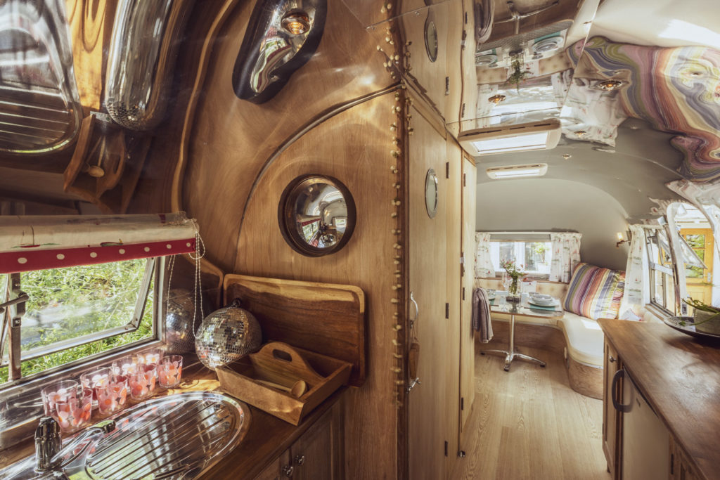 Dixie airstream retro van near lake windermere - kitchen and lounge inside