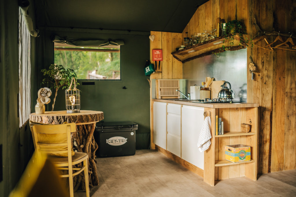 By The Wye - glamping site wye valley safari tent inside kitchen view