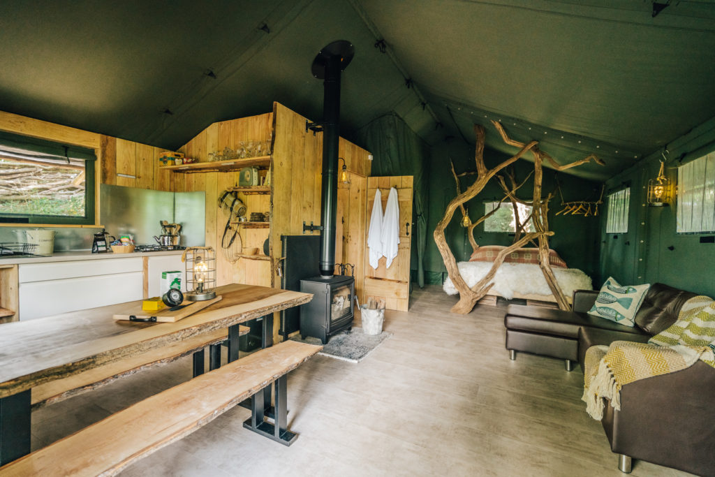 By The Wye - glamping site wye valley safari tent inside main bedroom open plan