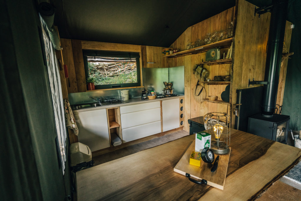 By The Wye - glamping site wye valley safari tent inside kitchen and food