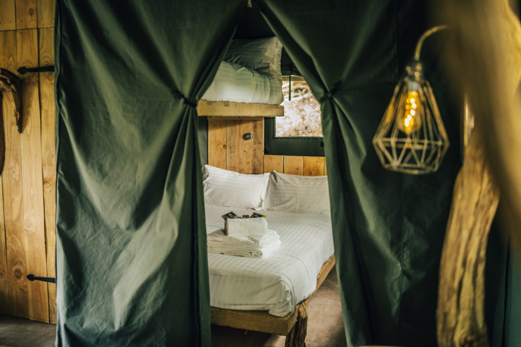 By The Wye - glamping site wye valley safari tent inside bedroom