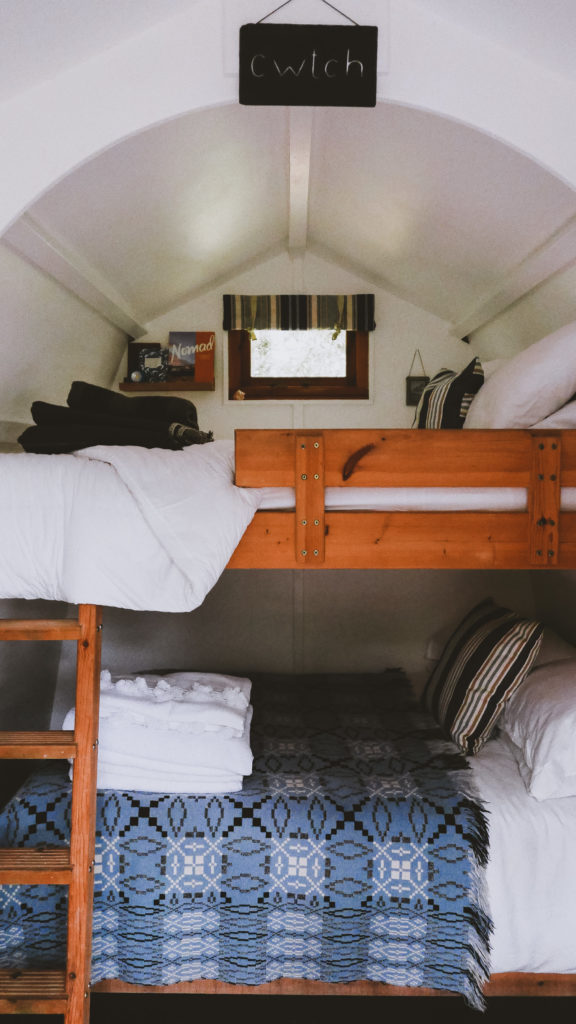 glamping pembrokeshire - inside double bunk bed Ty Cwtch