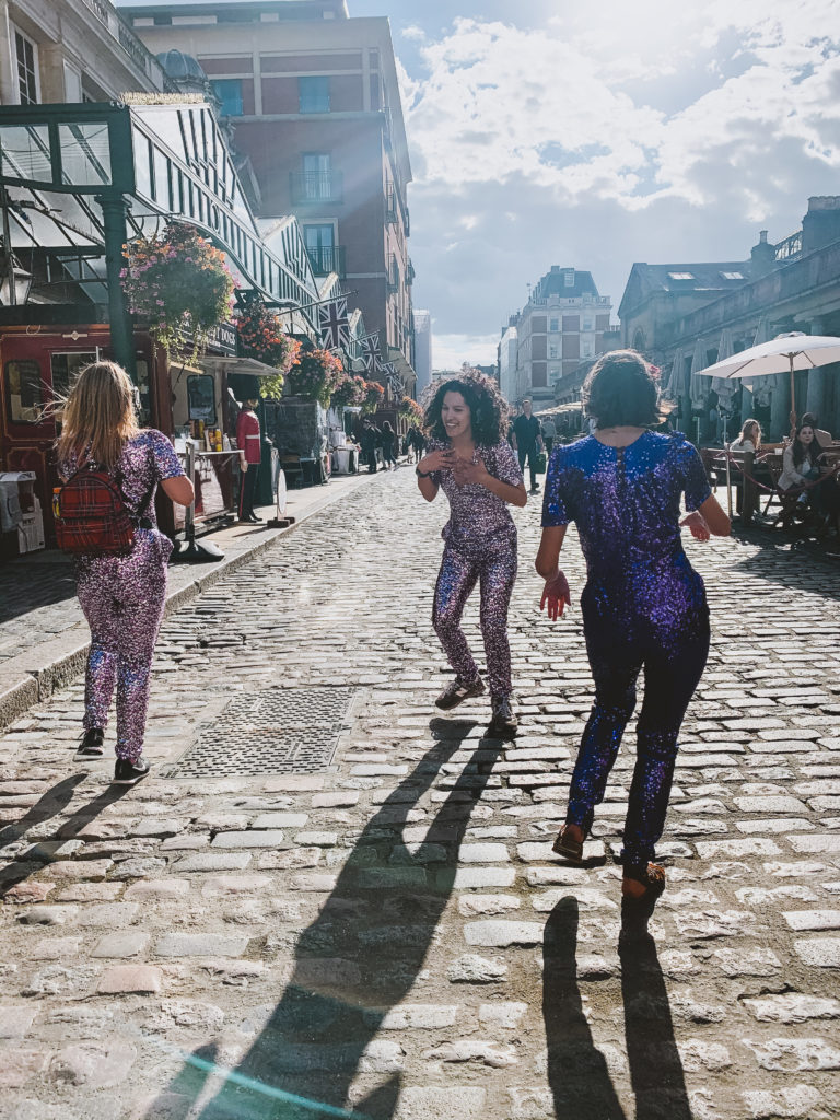 Boogie Shoes Silent Disco London - people dancing in Trafalgar sq