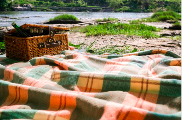 By The Wye - glamping site wye valley - picnic by river