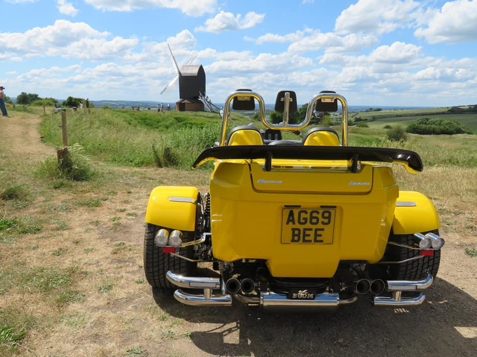 Chiltern Trike Tours Bumblebee Trike by Windmill in Chiltern Hills