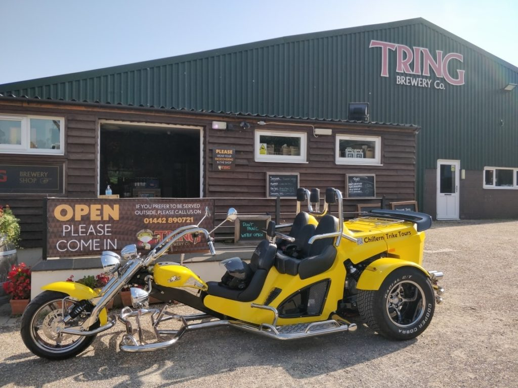 Chiltern Trike Tours Bike Bumblebee parked outside Tring Brewery