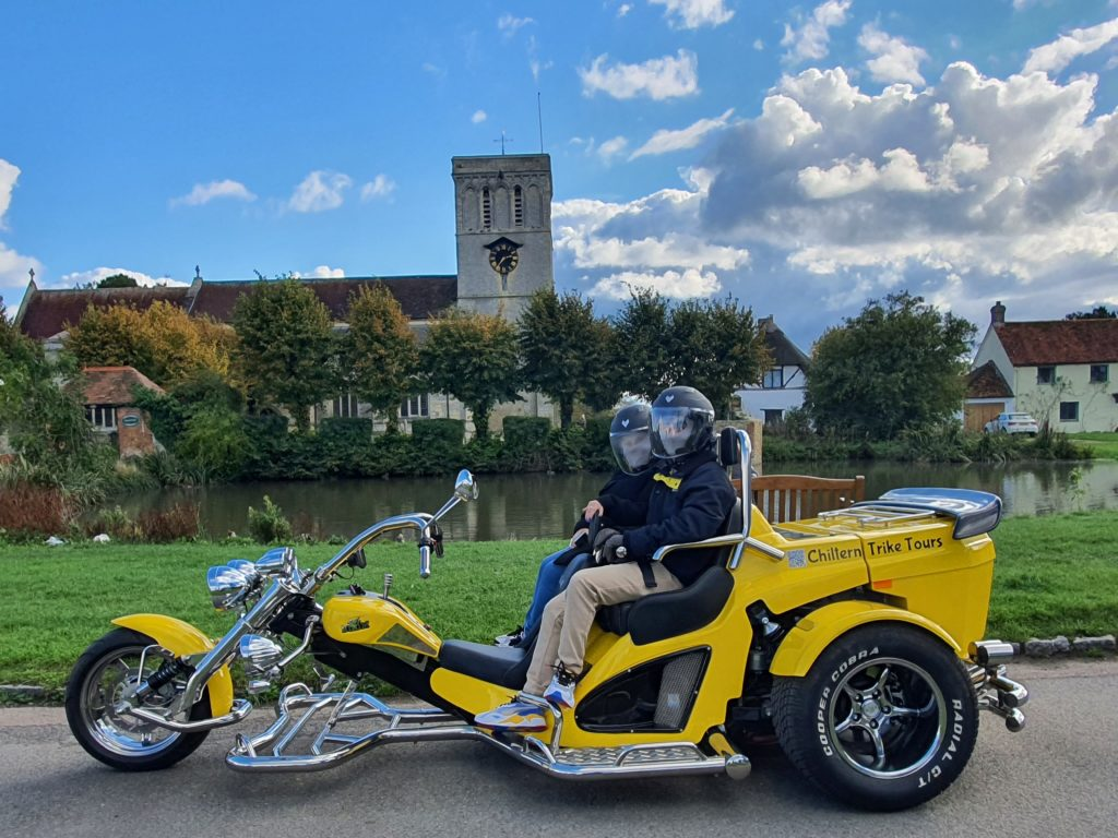 Chiltern Trike Tours - Bumblebee trike by church in Chilterns