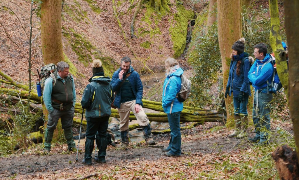 Foraging in Cheltenham with Cotswold Forager - Rob Gould leading group
