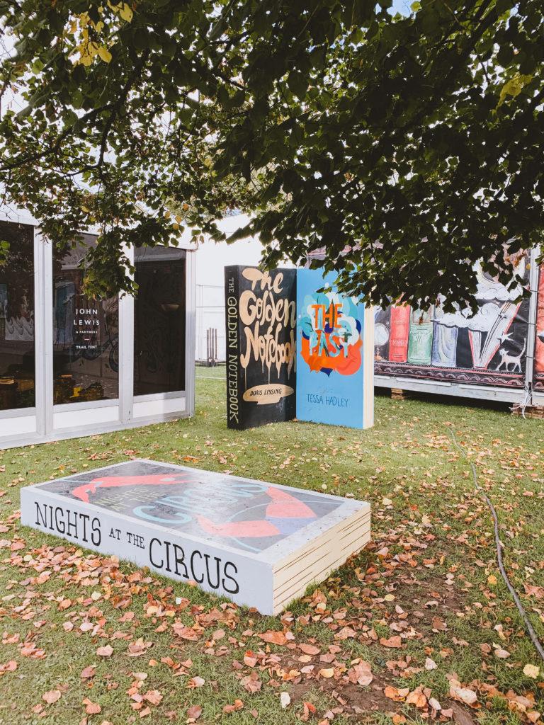 Cheltenham Literature Festival - Giant books in leaves