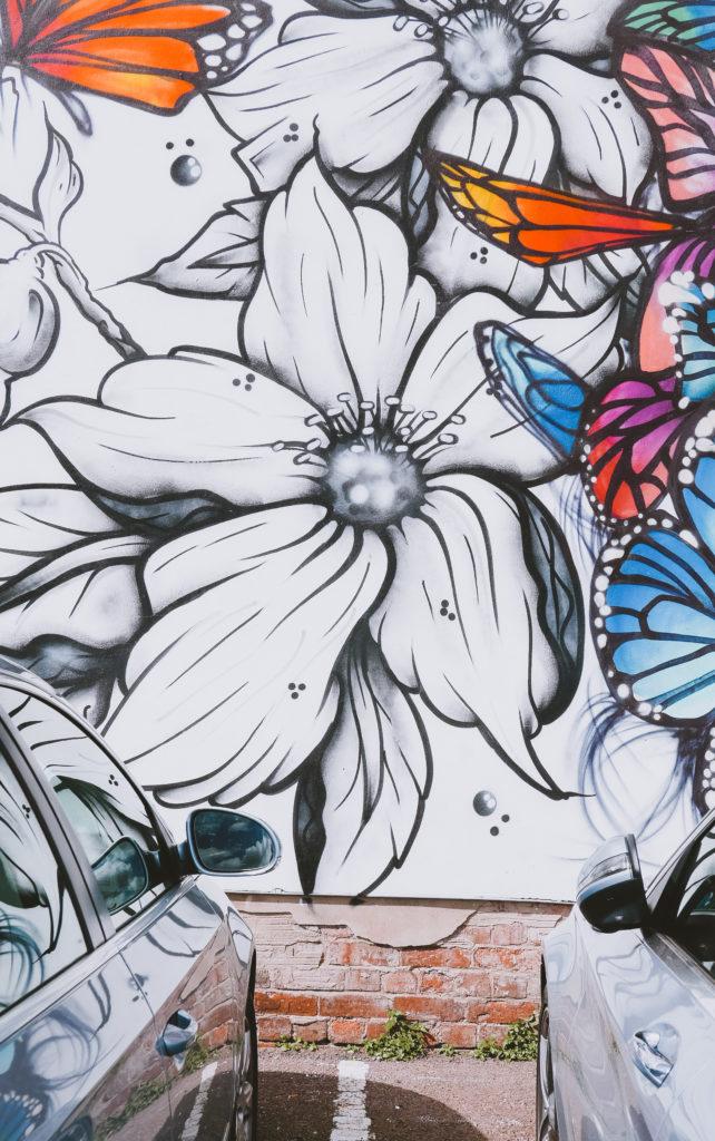 Flower street art from Cheltenham Paint Festival