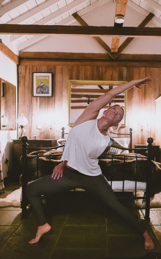 fireside yoga at the Outbuildings self-catering studios in Dorset