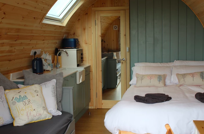 Sycamore glamping pods northumberland - inside double bedroom