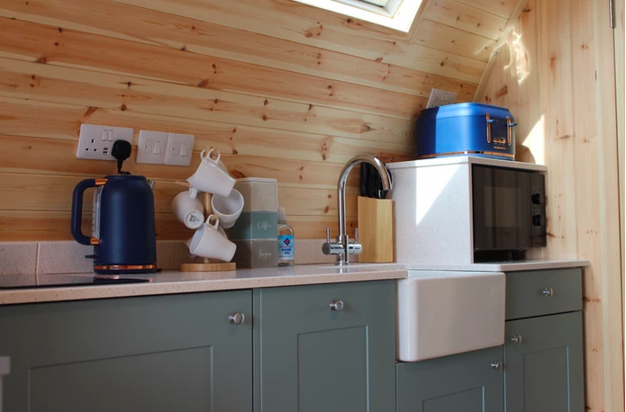 Sycamore glamping pods northumberland - inside kitchen