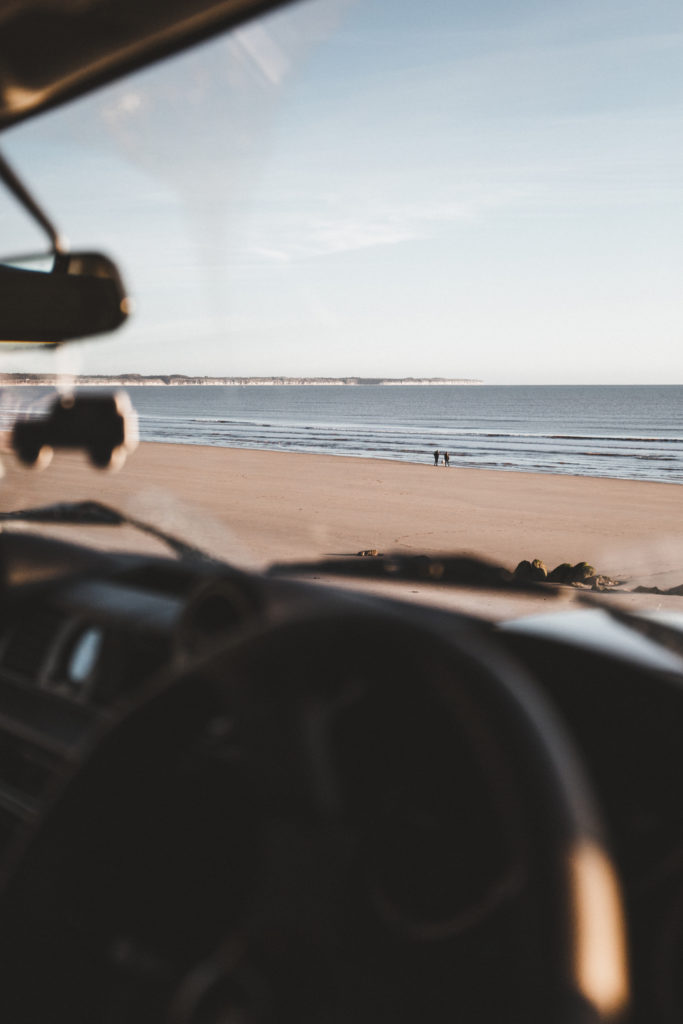 View from land rover defender wild camping experience beach
