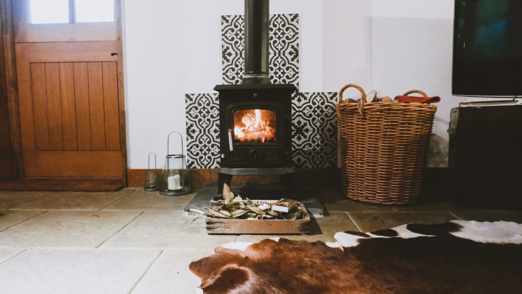 The Farrows log burner at the Outbuildings self-catering studios in Dorset