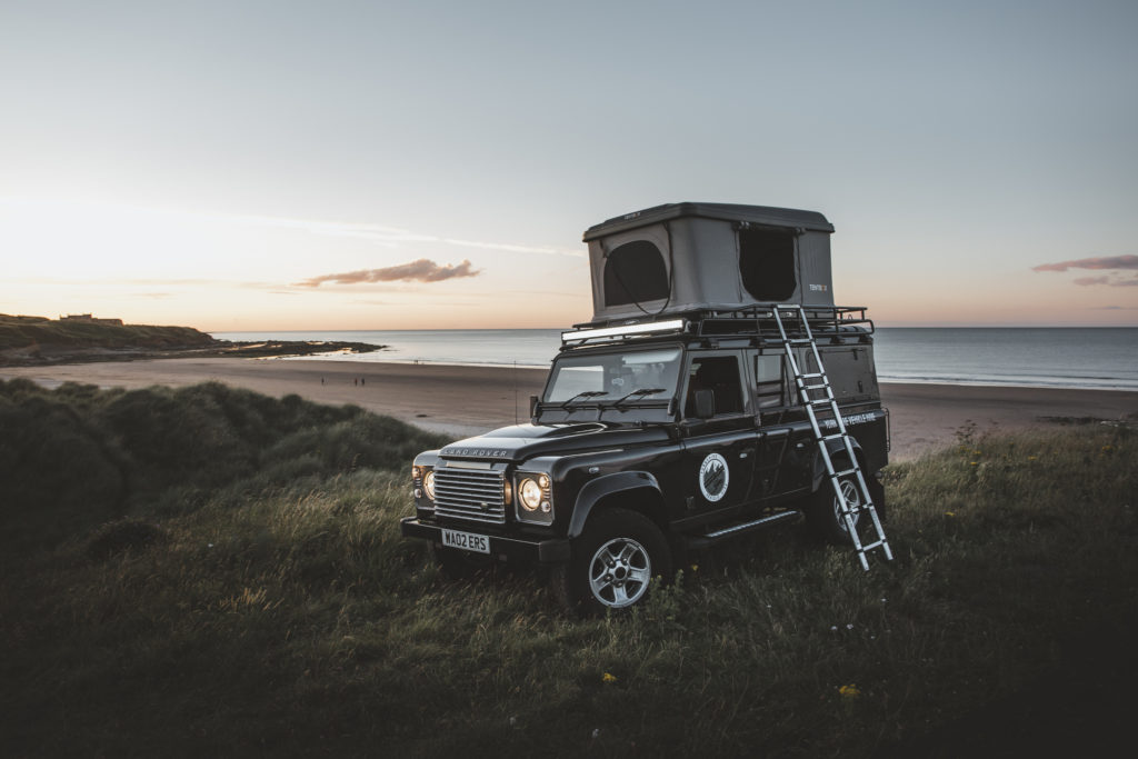 land rover defender with roofbunk tent wild camping in Yorkshire