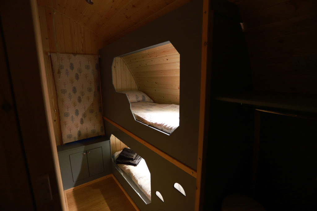 Sycamore glamping pods northumberland - interior view bunkbeds