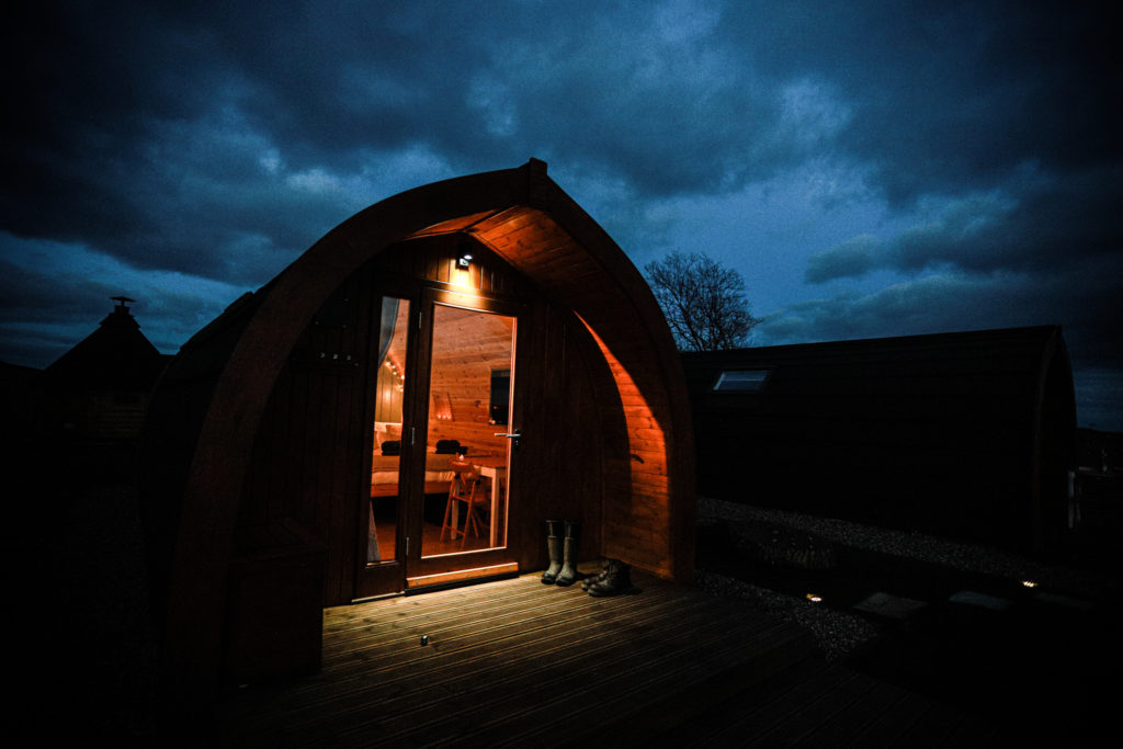 Sycamore glamping pods northumberland - exterior view at night