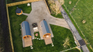 Sycamore glamping pods northumberland - exterior view overhead