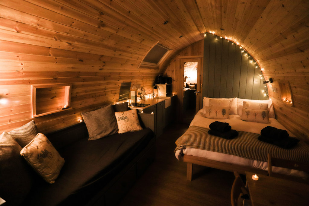 Sycamore glamping pods northumberland - interior view living space